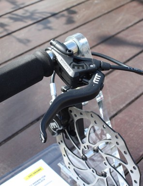 Magura's MT5 lever features an adjustable reach and carbotecture lever body
