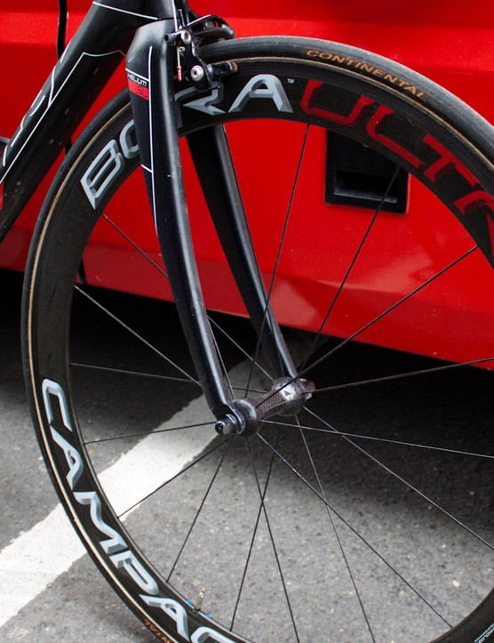 Campagnolo's Bora Ultra Twos feature carbon outer hub shells