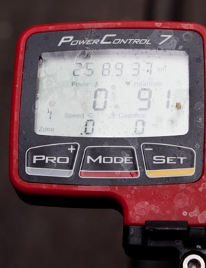 We presume Wellens forgot to turn on his SRM right after the neutralised start. That, or he took a short cut and missed out a few kilometres