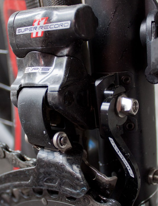 Super Record EPS front derailleur complete with chain catcher
