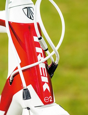 The Madone's head tube, seatstays and fork are Kamm Virtual Foil –truncated aerofoil – shapes