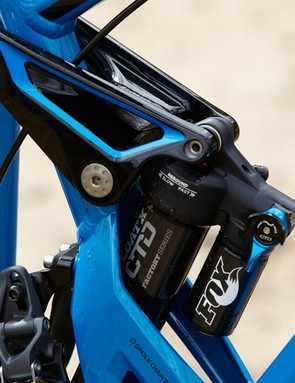 The Dune's open-belly frame allows the Fox Float X shock to be squeezed between the upper and lower linkages