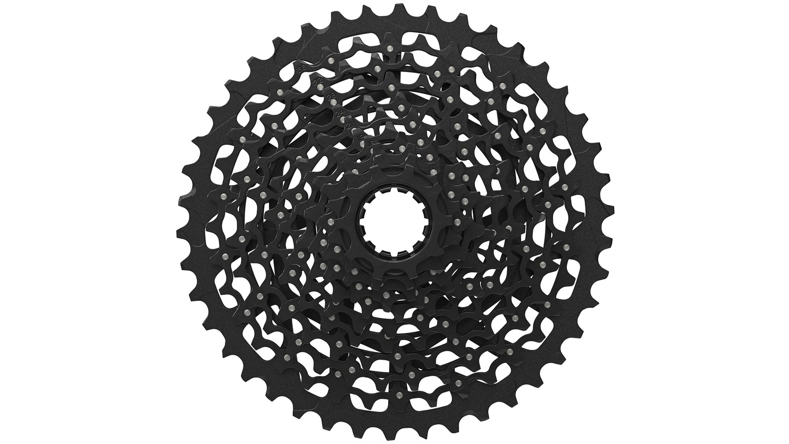 """The XG-1180 also called the """"Mini Cluster,"""" is constructed from eight pinned aluminum cogs mated to three CNC-machined steel cogs"""