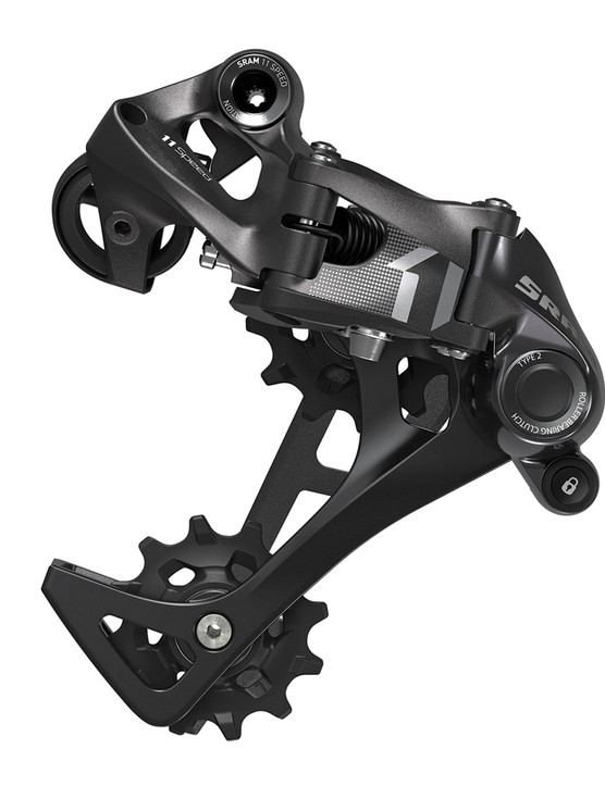 SRAM cuts costs on the X1 rear derailleur with an aluminum, rather than carbon, cage