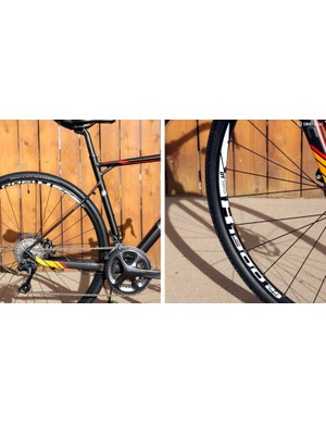 The slim, kinked seatstays and high-volume tires combine for a reasonably cushy ride