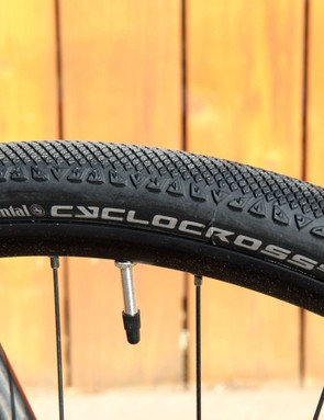 The Continental Cyclocross Speed's fast-looking tread design is let down by a stiff and slow-rolling casing. This bike desperately calls out for better rubber