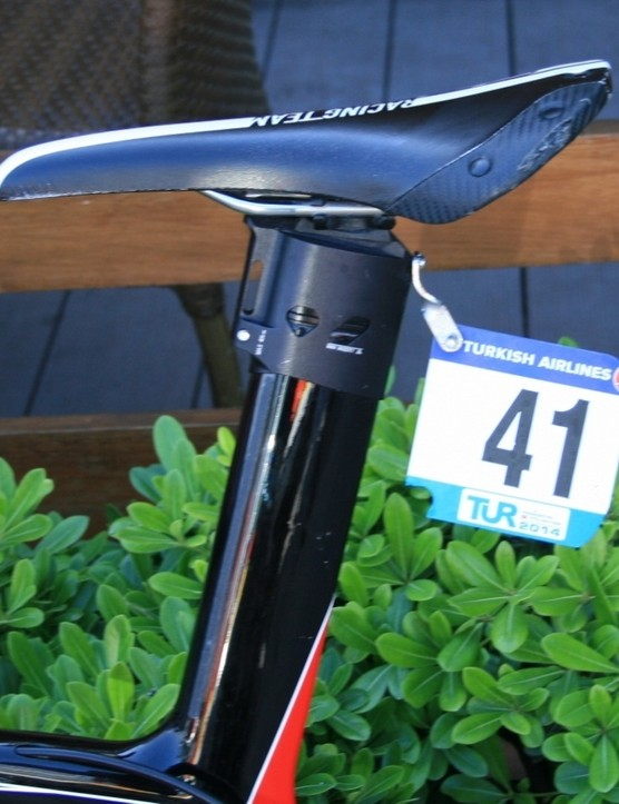 We had to include Kris Boeckmans' (Lotto-Belisol) forward slanted Selle San Marco Regal-e saddle. It had been in the wars too