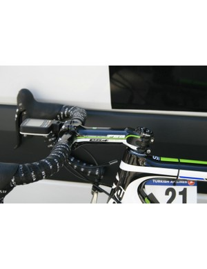Guillaume Bovin (Cannondale), we're guessing is pretty flexible: stem slammed and bars displaying a massive drop