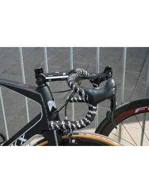 Track bars on Pieter Vanspeybrouck (Wanty-Groupe Gobert)'s bike. Good man
