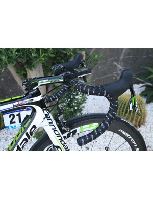 Guillaume Bovin (Cannondale), we're guessing is pretty flexible: negative rise stem slammed and bars displaying a massive drop