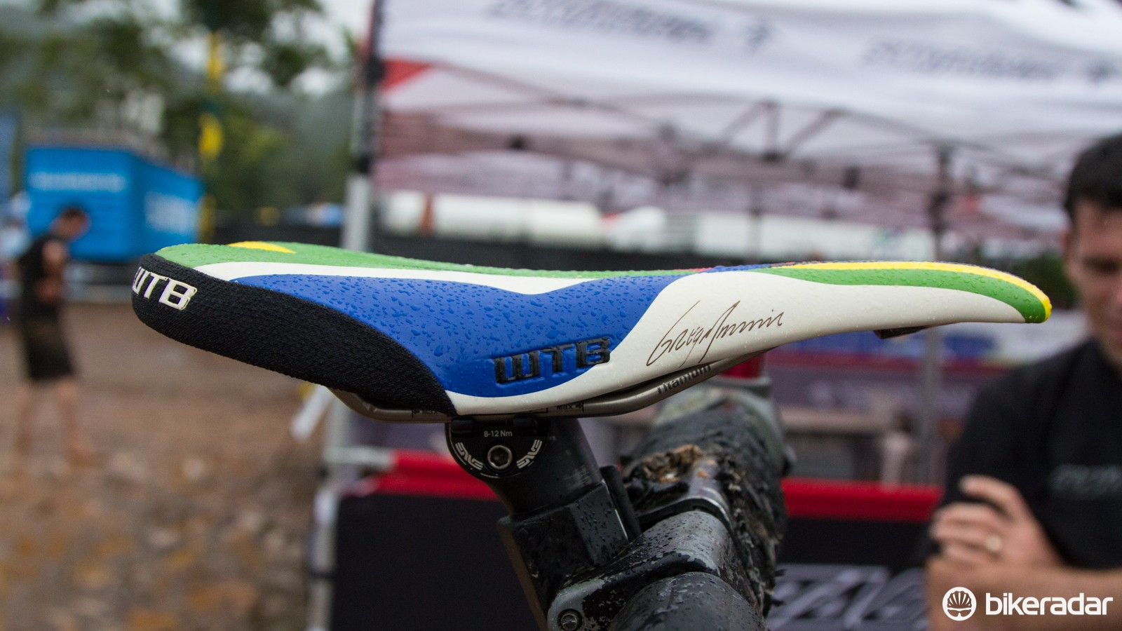 A custom covered WTB Silverado saddle for the World Champ