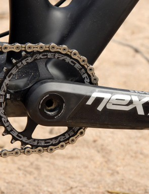 The Race Face Next SL carbon cranks were an obvious choice given their hollow carbon fiber arms and fat bike-friendly modular aluminum spindle design