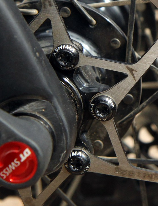 Ashima aluminum rotor bolts tighten to just 4Nm and are held in place with lock washers