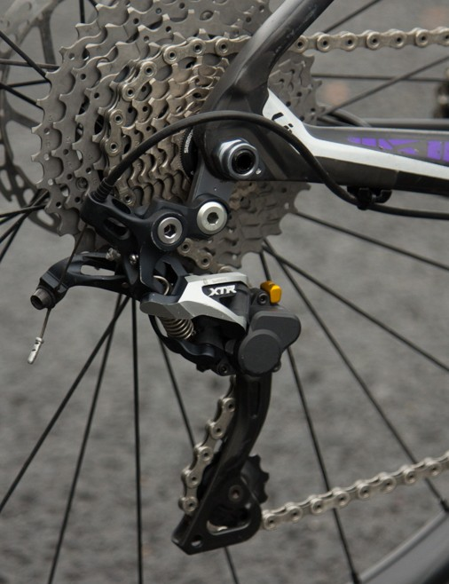 A XTR Shadow Plus rear derailleur keeps control of the chain