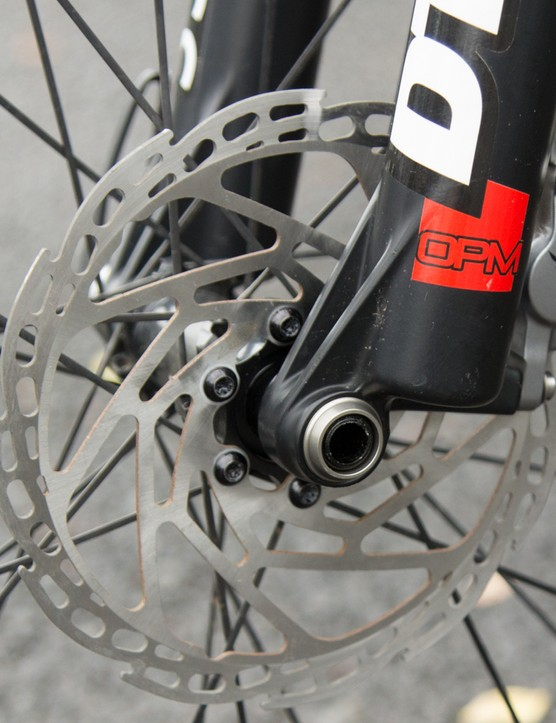 These aren't Shimano rotors, but the mechanics tell us that they are waiting on the Shimano rotors to arrive