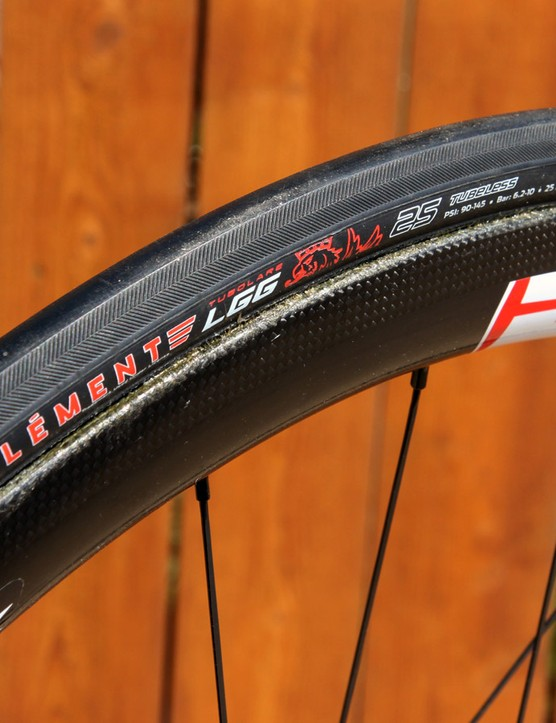 Clément's new LGG tubular features a slick center tread, a fine herringbone pattern on the shoulders, and a tubeless construction that uses a coated interior instead of a traditional sewn-in inner tube