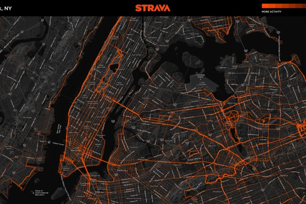 New York City cyclists' ride habits, as tracked by those who upload their GPS ride files to Strava