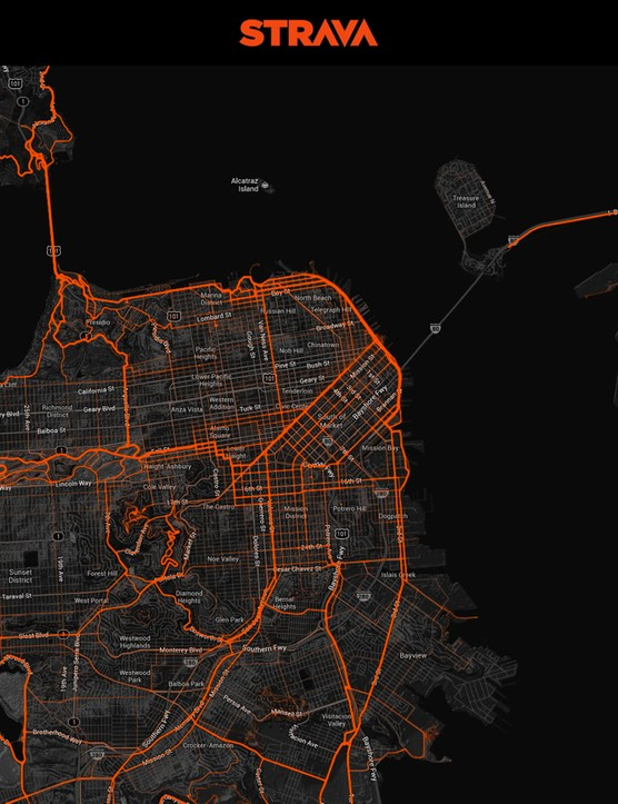 San Francisco cyclists' ride habits, as tracked by those who upload their GPS ride files to Strava
