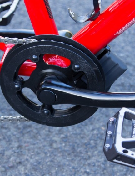 Shimano Saint pedals and stock cranks carry plenty of weight