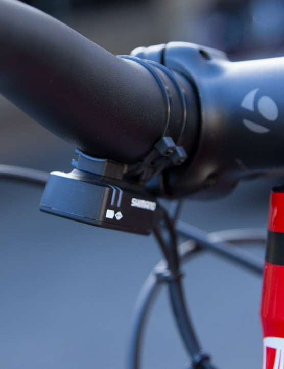 The stubby stem and handlebars are stock with the Superfly 20