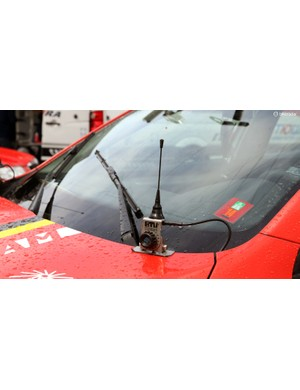 Team vehicles are typically festooned with radio antennas, since different frequencies and systems are used for communicating with the riders and receiving race information, for example