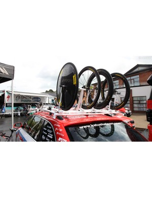 Opinions seem to be mixed on whether it's better to transport spare wheels in the front of the rack or the rear. Katusha prefers its wheels to be accessible from behind the vehicle