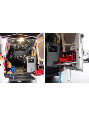 Mechanics will generally drive these vans directly from team hotel to team hotel. They're heavily adapted – not only to store a lot of gear, but also to operate as mobile workshops