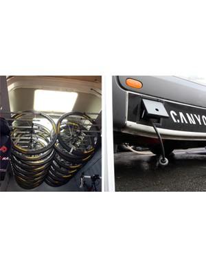Wheels are stored up high inside the Katusha mechanics' van