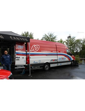 Katusha mechanics operate out of these spacious Volkswagen Transporter vans