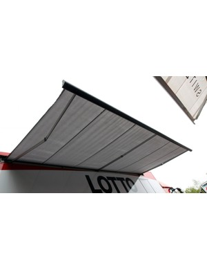 Retractable awnings don't keep mechanics warm, but they certainly help when it's raining