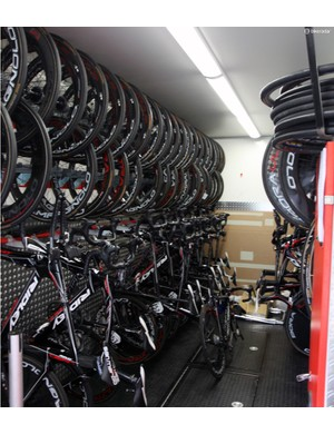 Lotto-Belisol says this truck can hold nearly 50 bikes, plus wheels and other gear