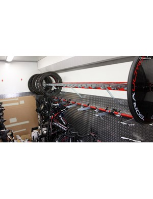 Bikes and wheels are tightly packed