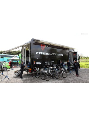 The Trek Factory Racing truck is notably plush. If the weather is particularly bad, there's enough room to work inside (especially with the slide-out section on the left side of the vehicle) and glass doors to seal out the wet and cold