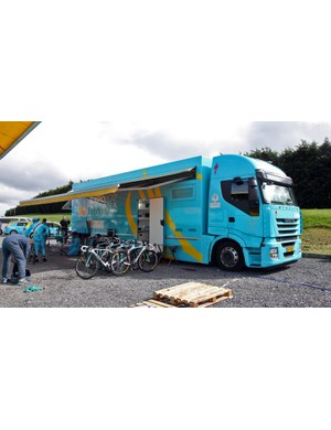 Astana's team support truck is certainly hard to miss