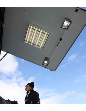 Lights are often installed on the back of the rear lift gates. The work doesn't end when the sun goes down