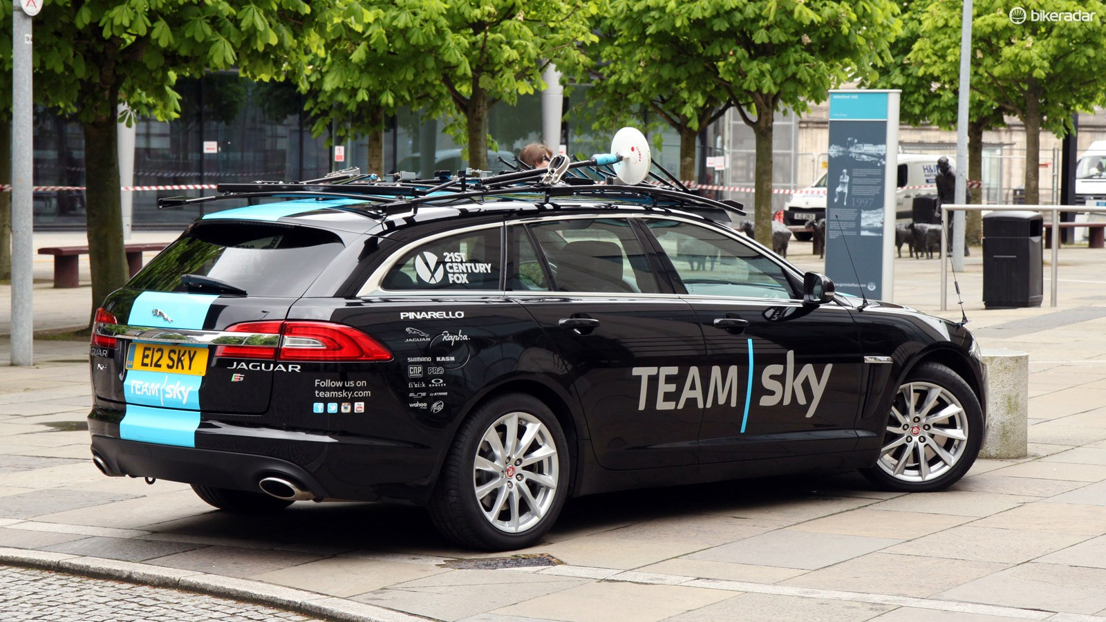 Team Sky has perhaps the snazziest cars in the peloton. These Jaguar XF Sportbrakes unfortunately aren't available in the US, but that's not an issue in Europe