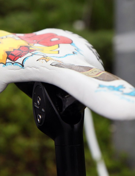 Joaquim Rodriguez's (Katusha) Selle Italia SLR saddle isn't just custom in terms of aesthetics, either. The standard SLR is offered with cutout and non-cutout shapes but not with a full-length channel like this