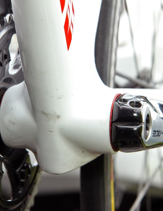Canyon builds the Aeroad CF aero road frame with a uniquely shaped bottom bracket