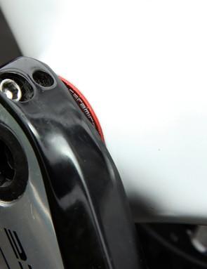 The Shimano Dura-Ace 9000 cranks roll on a CeramicSpeed bottom bracket