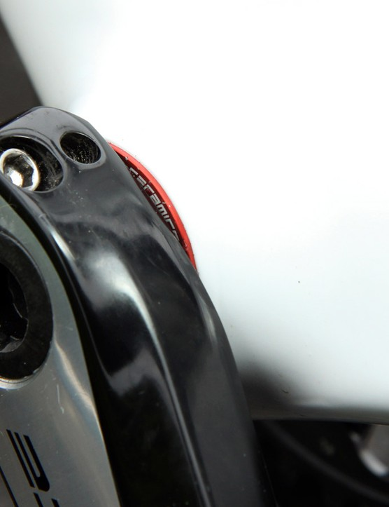 The Shimano Dura-Ace 9000 cranks roll on a CeramicSpeed bottom bracket