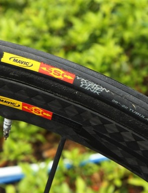 These tires are marked as Mavics but are more likely made by Hutchinson. The wheels are proper Mavic Cosmic Carbone Ultimates, though