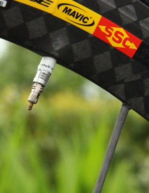 A bit of tape is wrapped around the valve stem to keep it from rattling