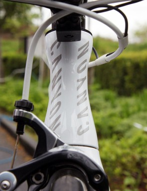 The hourglass-profile head tube surrounds a 1 1/8-to-1 1/4in steerer