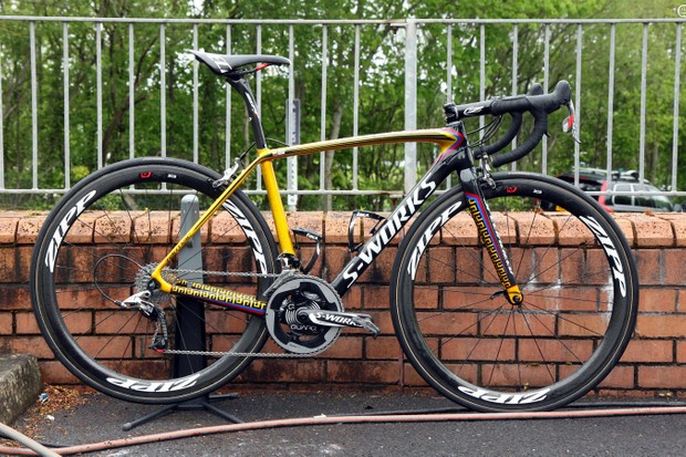 Specialized has provided Rigoberto Urán (Omega Pharma-Quick Step) with this custom - and all-new - S-Works Tarmac, resplendent in the colors of his native Colombia