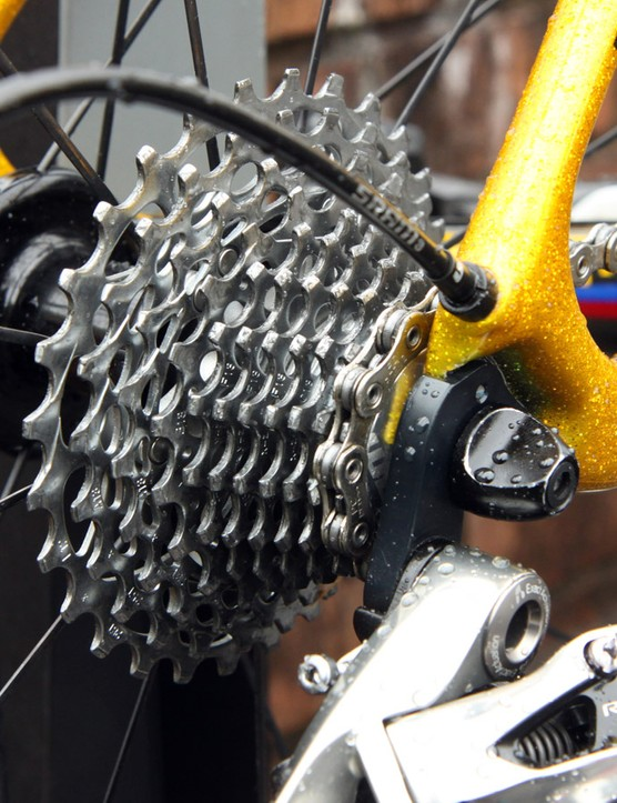 'Spin to win' is no joke. Colombian climber Rigoberto Urán has an 11-28T SRAM PG-1170 cassette mounted to the back of his new Specialized S-Works Tarmac