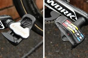 Rigoberto Urán (Omega Pharma-Quick Step) clicks into Look's new KéO Blade 2 pedals with titanium spindles