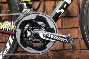 Power is transmitted - and measured - by a Quarq power meter fixed to Specialized carbon crankarms and SRAM chainrings