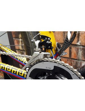 The SRAM Red 22 front derailleur is backed up with a SRAM chain catcher