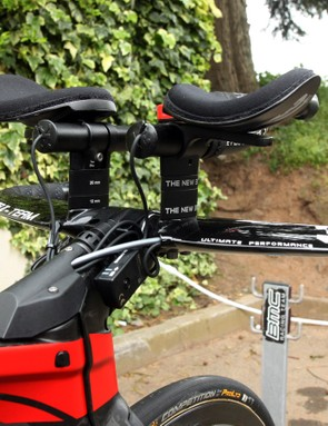 Brent Bookwalter (BMC) stands 1.8m (5ft 11in) tall but rides a small BMC TimeMachine TM01. As a result, there's a healthy stack of spacers to bring his armrests up