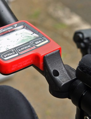 BMC riders use RaceWare's 3D-printed raised SRM mount on their time trial bikes since there isn't quite enough room in between the extensions for the PowerControl 7 heads to fit